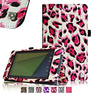 Fintie Folio Case for Google Nexus 7 FHD 2nd Gen 2013 Android Tablet Slim Fit With Auto Wake / Sleep Feature - Leopard Magenta by Fintie
