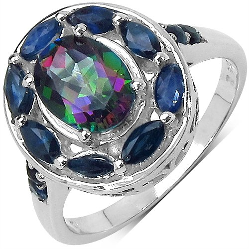 2.71CTW Genuine Mystic Topaz & Blue Sapphire .925 Sterling Silver Ring (multicolor)