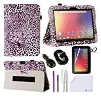 The Friendly Swede PU Leather Flip Folding Case Cover With Stand And Stylus Holder 10-Piece Bundle for Google Nexus 10 inch Tablet (1st Gen) Only - Support Auto Wake/Sleep Function - Retail Packaging from The Friendly Swede