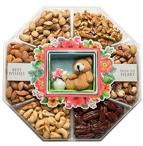 LARGE Gourmet Nuts Gift Basket with Miniature Teddy & Flowers Top Gift Idea for Men, Women, & Family (Mini Wishes) (Teddy Bear Basket compare prices)