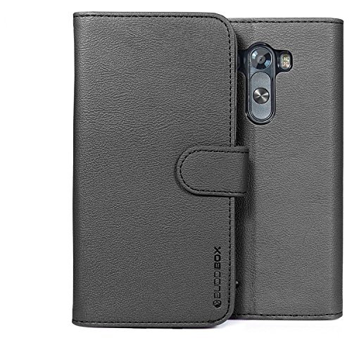 LG G3 Case, BUDDIBOX [Wallet Case] Premium PU Leather Wallet Case with [Kickstand] Card Holder and ID Slot for LG G3, (Black) (Wallet For Lg G3 compare prices)