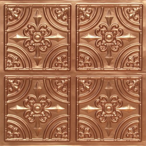 "Discounted Victorian Faux Copper Plastic Ceiling Tiles #205 PVC 24""x24"" with Overlaping Edges Ul Rated,class A.glue On,nail On,tape On,staple On!"
