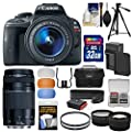 Canon EOS Rebel SL1 Digital SLR Camera & EF-S 18-55mm IS STM & 75-300mm III Lens with 32GB Card + Case + Battery & Charger + Tele & Wide Lens Kit