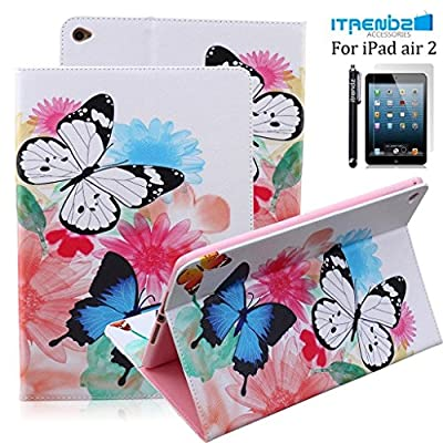 iPad Air 2 Case, Itrendz [Cute Smart Case] PU Leather Flip Case [Card Slot Case] [Magnetic Closure] Stand Smart Cover [Auto Sleep Wake] For Apple iPad Air 2 / iPad 6th Generation from Itrendz