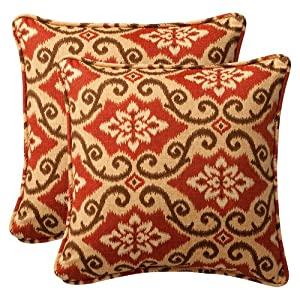 "Pack of 2 Outdoor Patio Furniture SquareThrow Pillows 18.5"" - Vintage Tuscan by CC Home Furnishings"