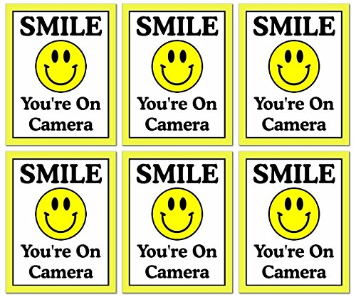 """6 Pack of Large (4"""" Wide x 5"""" Tall) """"Smile You're On Camera"""" Video Surveillance Security Decals Door Window Wall Vinyl Stickers for Indoor/Outdoor Use; Adhesive on Back"""