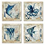 Classic Nautical Octopus, Swordfish, & Tropical Fishes Prints; Set of 4 Posters Each 12x12