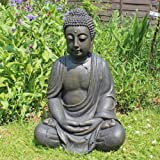 XXL Detailed Aged Stone Look Resin Buddha Garden Ornament 68cm