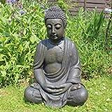 XXL Detailed Aged Stone Look Resin Buddha Garden Ornament 68cm