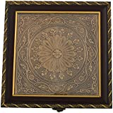 Arka Metallic Design Handcrafted Wooden Dry Fruit Gift Box (23 Cms X 23 Cms X 5 Cms, Gold & Maroon)