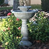Smart Solar 34222RM1 Gray Weathered Stone Country Gardens 2-Tier Solar-On-Demand Fountain