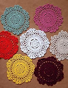LXLFMY, 12pcs/set VTG Shabby Chic Handmade Crocheted Doilies Coaster Random Color , holiday-round from LXLFMY tablecloth