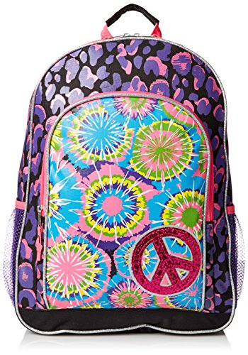 Mystic Apparel Tie Dye Printed Glitter Backpack, Multi, One Size