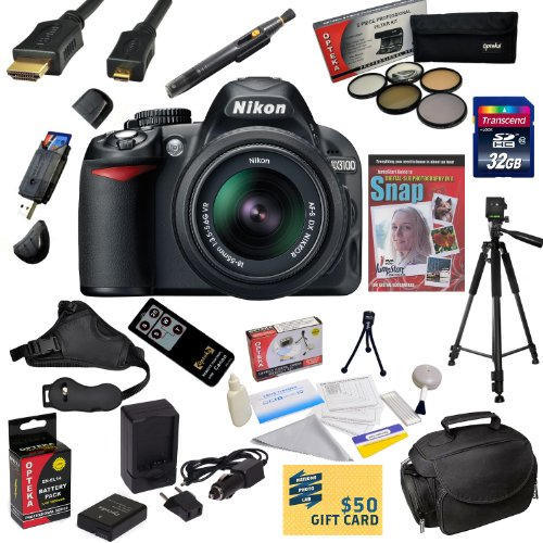 Review:  Nikon D3100 Digital SLR Camera with 18-55mm NIKKOR VR Lens With Must Have Accessory Kit - Includes 32GB Transcend High Speed Memory Card + Card Reader + Additional Extended Life EN-EL14 Replacement Battery Pack + AC/DC Rapid Travel Charger + 52MM Professional 5 Piece Filter Kit (UV, CPL, FL, ND4 and 10x Macro Lens) + HDMI Cable + Soft Gadget Bag Carrying Case + Wireless Remote Control Shutter Release + Professional Photo / Video 60