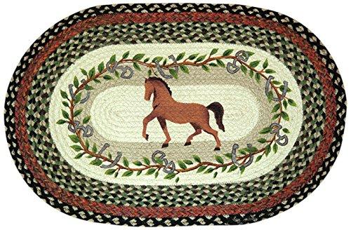 Earth Rugs 65-427HOL Horse Oak Leaf Oval Design Rug, 20 by 30