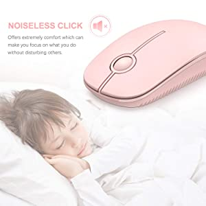 Jelly Comb 2.4G Slim Wireless Mouse with Nano Receiver, Less Noise, Portable Mobile Optical Mice for Notebook, PC, Laptop, Computer, MacBook (Pink) (Color: Pink)