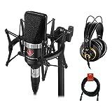 Neumann TLM-102 Studio Condenser Microphone Studio Set (Black) with AKG K 240 Studio Pro Headphones & XLR Cable Bundle