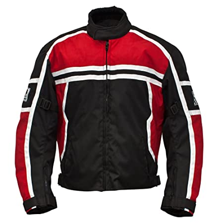 Römer 5835 Blouson Moto Washington, Noir/Rouge/Blanc, XL