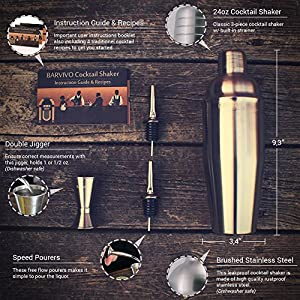 Professional Cocktail Shaker Set w/ a Double Jigger & 2 Liquor Pourers by BARVIVO - 24oz Martini Mixer Made of Brushed Stainless Steel Perfect for Mixing Margarita, Manhattan & Other Drinks at Home.