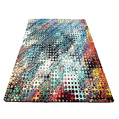 Modern Simple Style Abstract Graffiti Polka Dot Geometric Pattern Living Room Area Rugs 3-Feet by 5-Feet Blue