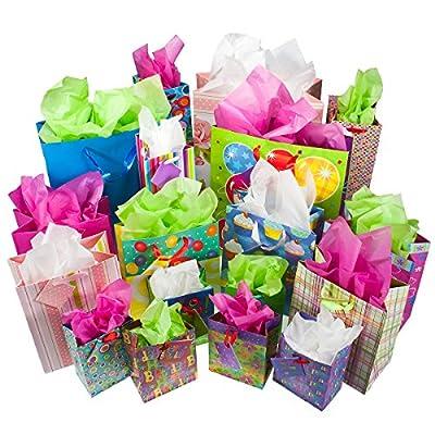36ct Gift Bag Tissue Tag Set Birthday Holiday Present Wine Cupcake Balloon Print