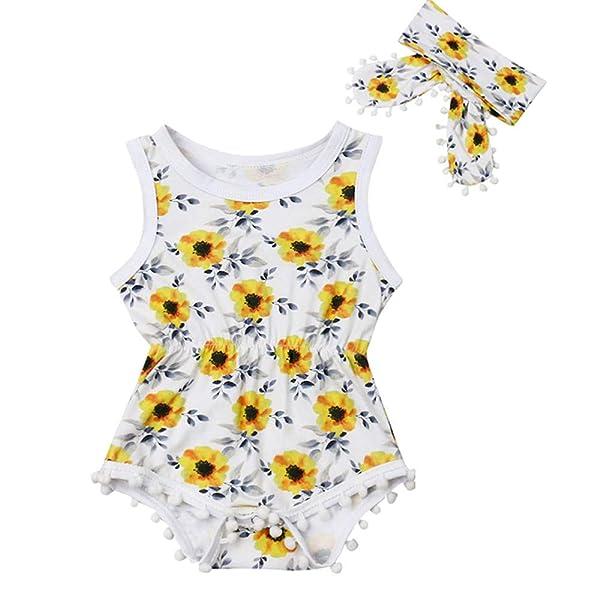 Newborn Baby Girls Clothes Floral Ruffle Halter Romper Jumpsuit Summmer Dress Sunsuit with Headband