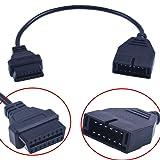 Tekit GM 12 Pin OBD1 to 16 Pin OBD2 Convertor Adapter Cable For Diagnostic Scanner,GM 12 Pin To OBD1 OBD2 OBD-II 16 Pin Adapter Connector Car Motor Diagnostic Tool Diagnostics Adapter Cable (2PCS) (Color: black, Tamaño: 2PCS)