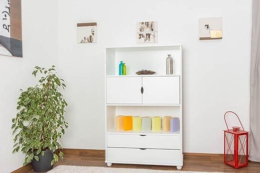 158cm Drawer Bookcase Junco 47A, solid pine, white finish - H158 x W100 x D42 cm