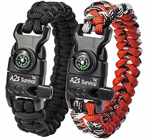 A2S Paracord Bracelet K2-Peak Series - Survival Gear Kit with Embedded Compass, Fire Starter, Emergency Knife & Whistle - Pack of 2 - Slim Buckle Design Hiking Gear (Black / Red 8.5