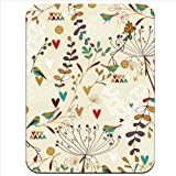 Birds Hearts Plants Leaves Garden Premium Quality Thick Rubber Mouse Mat Pad Soft Comfort Feel Finish