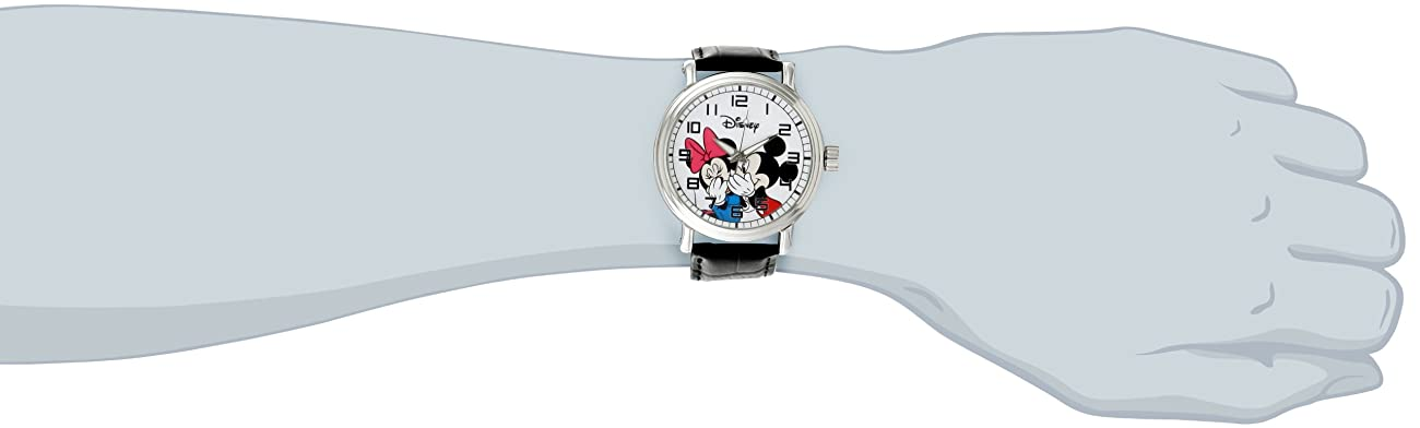 Disney Men's W000857 Vintage Mickey and Minnie Mouse Black Leather Strap Watch 1
