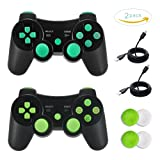 PS3 Controller, TONSUM 2 Pack Bluetooth Dualshock3 Joystick Game Remote Sixaxis Control Gamepad Heavy-duty Game Accessories for PlayStation3 with Charger Cable (Blue and Green)