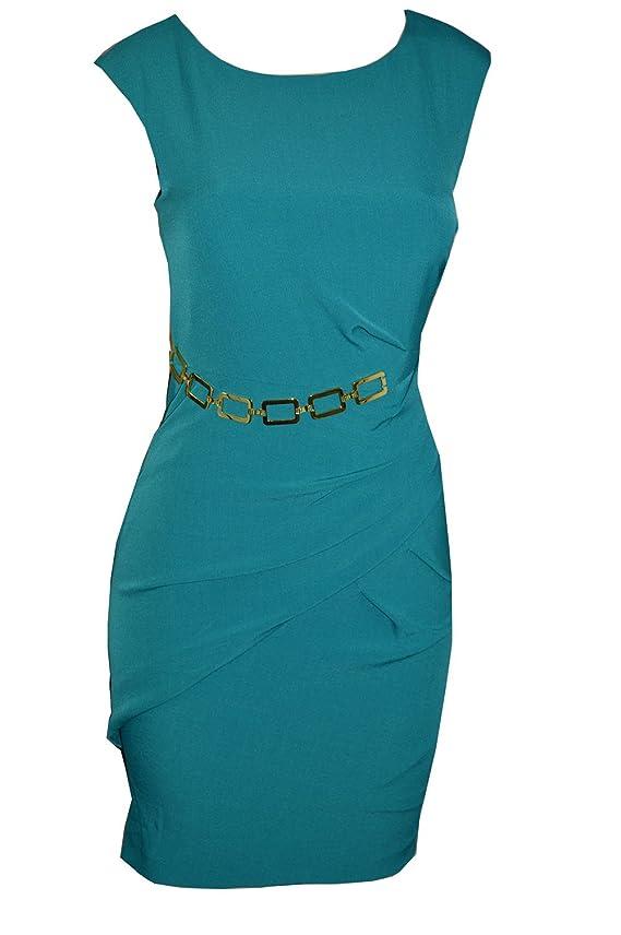 Sandra Darren Women's Peacock Belted Draped Dress
