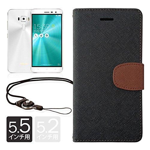 【 shizuka-will- 】ASUS ZenFone3 ( ZE552KL / 5.5インチ ) 専用 手帳型 ケース カバー 2WAYワンタッチ着脱ストラップ付 カード収納あり ( 黒×茶 / フロントロゴ無 / 改善版Rev2.2 ) ゼンフォン 3 ze552kl ケース カバー zenfone 3 ze552kl ケース