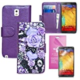 Samsung Galaxy Note 3 N9000 Handmade Luxury Wallet Case Bling Bling Purple Floral Makeup set Fairy Story Princess Case PU Leather Case Magnet Flip Cover With Credit Card Holder + Note 3 Screen Protector (US Seller!!) (Floral Fairy Tale Purple Leather Case)