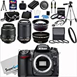 Nikon D7000 16.2MP DX-Format CMOS Sensor Digital SLR Camera (Black) Import Model with 18-55mm f/3.5-5.6G AF-S DX VR and 55-200mm f/4.5-5.6G ED VR AF-S DX NIKKOR Zoom Lenses + Wide Angle + Telephoto + Full 32GB Deluxe Accessory Bundle