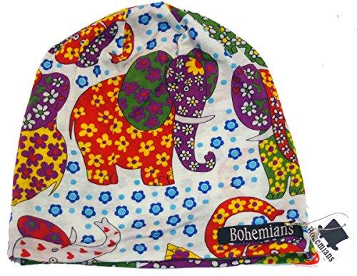 BOHEMIANS(ボヘミアンズ)ワッチキャップ FLOWER ELEPHANT(フラワーエレファント) WHT(ホワイト) Mサイズ