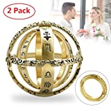 Astronomical Sphere Ball Ring,Cosmic Finger Ring Couple Lover Foldable Ring That Folds Out to an Astronomical Sphere Ring Lover Jewelry Gifts (Gold 2 Pack, 7) (Color: Gold 2 Pack, Tamaño: 7)