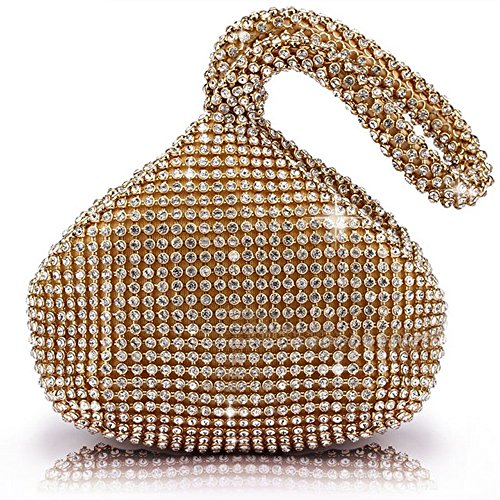 J & G triangolari con strass strass borsetta pochette sera donna Party matrimonio borsa, colore: gold