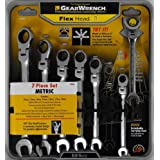 GearWrench 7 pc. Metric Full Polish Ratcheting Flex Head Combination Wrench Set
