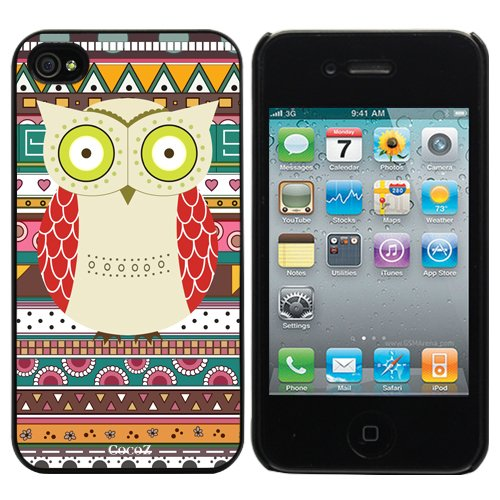 =>>  Cocoz® 2013new Releases Iphone 4 4s Case Retro Style Owl Aztec Andes Tribal Pattern Iphone 4 Cases Black Pc+pearlescent Aluminum-0317