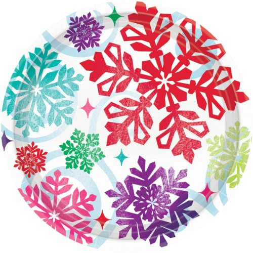 plate 9 inches metallic bright holiday