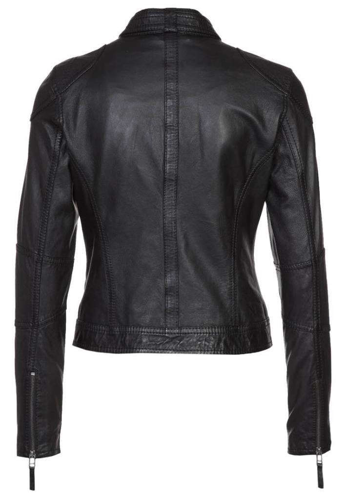 Vintage Women's Slim Biker Motorcycle Real Leather Zipper Jacket W164 1