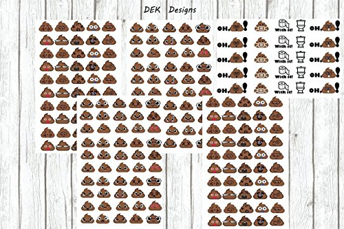 Poop emoji stickers, 225 total stickers kiss cut on gloss sticker paper. Great for potty training, scrapbooking, office fun on in your planner.