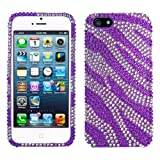Lumii Ark 3D Bling Crystal Design Case for Apple iPhone 5 / 5S - (Purple Zebra)