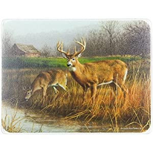 Legends Deer 15 x 11.5-inch Tempered Glass Cutting Board by Highland Graphics