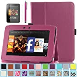 Kindle Fire HD 7.0 Case - ULAK Slim Fit PU Leather Standing Protective Cover with Auto Sleep/Wake Feature for Amazon Kindle Fire HD 7.0 Inch 2012 Gen with Screen Protector, Rose Red