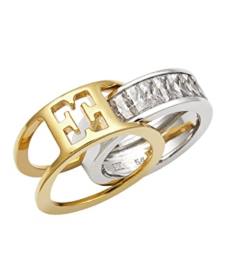 Escada Interchangeable Two Tone Gold and Silver Ring with Cubic Zirconia