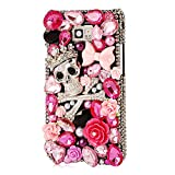 Mavis's Diary Luxury 3D Handmade Bling Pink Crystal Skull Crown Design Black Cover Case with Soft Clean Cloth (Samsung Galaxy S2 i9100 Galaxy S 2 II Plus I9105 International Version)