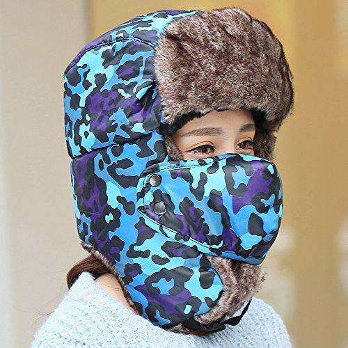 YangR*L'inverno hat uomini cappuccio spesso i giovani nel nordest orecchio cap berretto da sci femminile Outdoor winterizing cappellino , blu camouflage